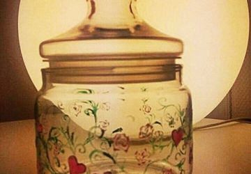 Ornamental cookie jar with hearts