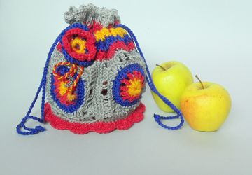 Make up bag Crochet purse Girls accessories Rainbow handbag