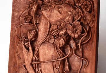 Nixie wood relief, handmade carving, basswood sculpture, mahogany wine