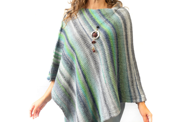 Gray women's knit poncho
