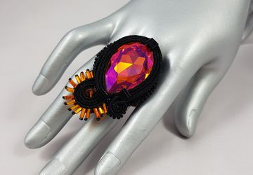 Soutache Swarovski ring