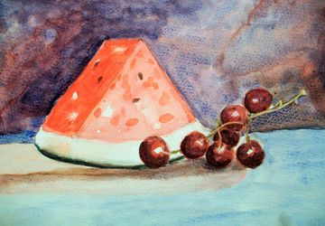 Summer Fruits, watercolor on paper