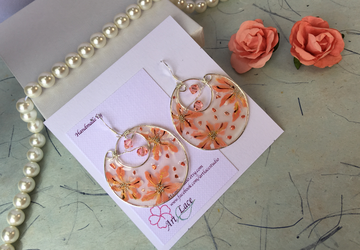 Sterling silver large hoop earrings Dangle Peach earrings Statement earring Party earring Wire resin Hoop  Hand-painted Flower Chandelier