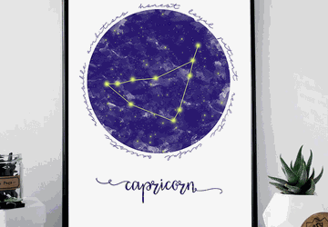 Capricorn zodiac sign printable wall art