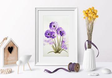 Purple flower wall art watercolor,  rustic flower botanical art, painting for living room