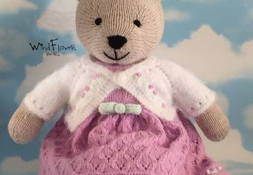Hand knitted , one of a kind Christmas teddy bear - Lily