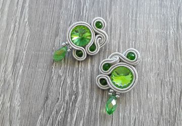 Green and silver lobe earrings, small soutache earrings, earrings with pearls and crystal, boho chic earrings, gift for her