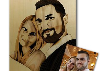 ORIGINAL Custom wedding portrait of wood marquetry woodworking by Andulino