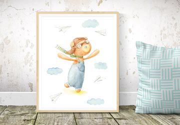 Boy Nursery Print, Printable Nursery Wall Art, Pilot Bear Nursery Decor, Instant Download Nursery Wall Art, Printable Children Room Art