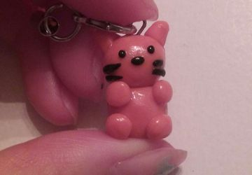 Cute small cat polymer clay charm