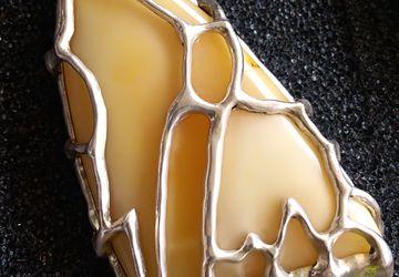 Sterling silver butterscotch amber pendant