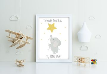 Twinkle Twinkle star elephant , Playroom print, nursery print, wall art, playroom poster, instant digital download,children wall art
