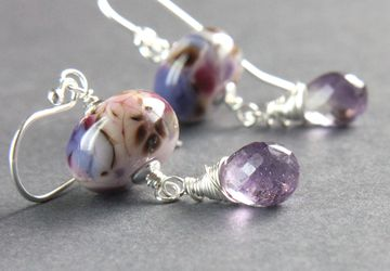 Lampwork And purple Amethyst Earrings Sterling Silver February Birthstone Gemstone Jewelry Multi Colored  Colorful Earrings