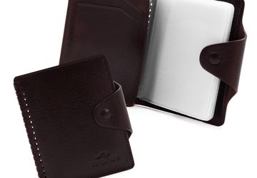 Leather cardholder with decorative plaiting Cangurione 3310 V/Chery
