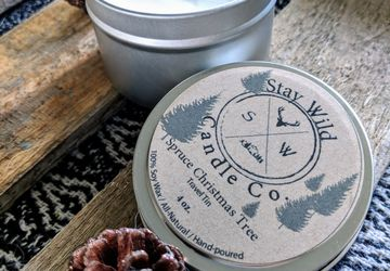 Spruce Christmas Tree_Travel Tin Soy Candle with Wooden Wick
