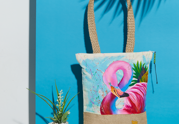 Flamingo Hand Painted Tote Bag