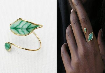 Leaf ring, adjustable ring, Green ring, for women.