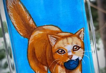 Kitty 2x3 Photo Keychain | Dainty and Adorable Orange Cat | Each Copy is Handpainted | Perfect For Cat Lovers | Back to School Accessory