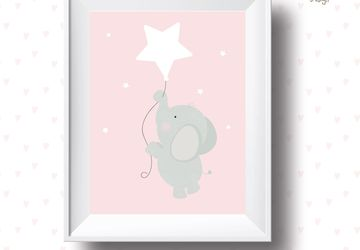 White star, elephant , Playroom print, nursery print, girls, wall art, playroom poster, instant digital download,children wall art