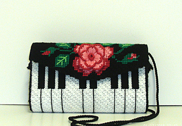 Red,pink and black Piano clutch/evening bag