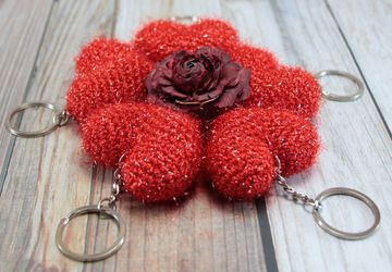 Valentines Day Gift for Her Heart Keyring Girlfriend gift Anniversary Gift Bag Accessory Heart Charm Crochet Heart Handmade Keychain