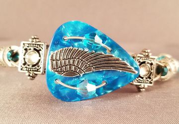 "Guitar Pick and Guitar String Bracelet ""Aqua Angel Wing"""