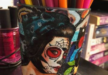 Rockabilly  |  Pencil Cup  |  Makeup Brush Holder  |  Art Supply Organizer