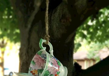 Floral Tea Cup Bird Feeder