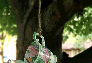 Floral Tea Cup Bird Feeder