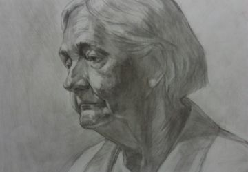 A portrait of a senior woman