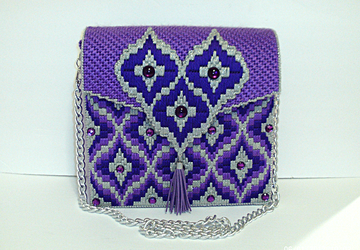 Purple and Sliver Bargello Handbag