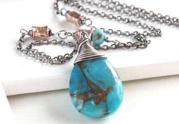 Turquoise Teardrop Necklace Oxidized Silver Made For Women