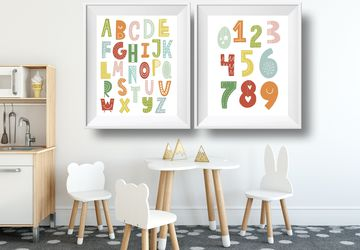 Colourful alphabet and numbers, instant digital download, children wall art, Playroom print, nursery wall decor, kids poster, nursery print.