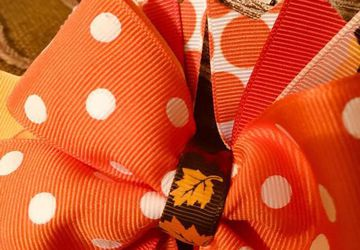 Boutique Hairbow with Alligator Clip. Perfect for the fall festivities or Thanksgiving Celebrations. Free Shipping