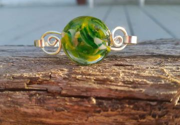 Silver And Green Art Glass Handmade Bracelet