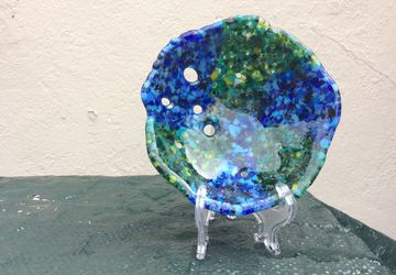 Beautiful blue and green fused glass bowl