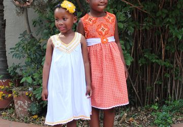 Orange and white African print cotton dress for girls