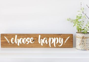 Choose Happy Sign, Inspirational Wall Art, Quote Wall Art, Quote Signs, Wood Wall Art, Wood Wall Art Décor, Wooden Wall Art, Gifts for Her