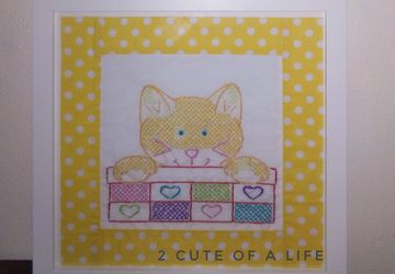 Kitten needlepoint art wall decor