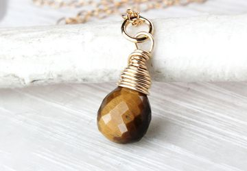 Tiger Eye  Necklace Gold Filled Gemstone Jewelry  Small Drop Necklace