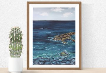 Watercolor Seascape wall art, sea water painting for interior decoration