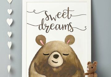 Bear wall art, bear nursery wall art