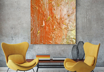 Large Orange Acrylic Wall Art On 30 x 40 inch Canvas, Original Textured Abstract Gold Painting, Modern Multi Color Acrylic Pour Art