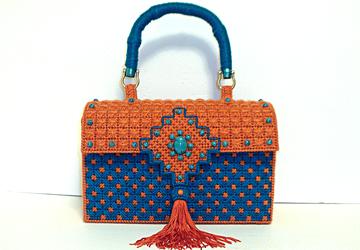 Turquoise and Terra-Cotta Handbag