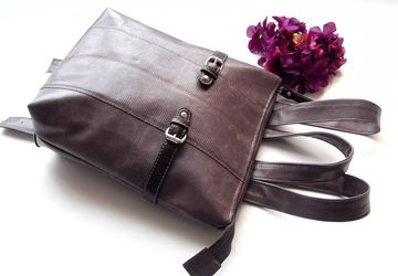 SOLD!! Small Women's Backpack, Purple Mini Backpack Purse, Vegan leather, Brown bag, Minimalist woman's rucksack, Gift for her