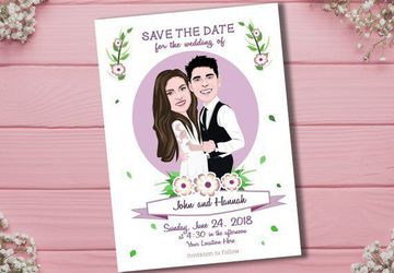 Custom Wedding Invitation Illustrated From Your Photos
