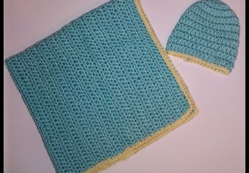 Crochet baby blanket and newborn hat