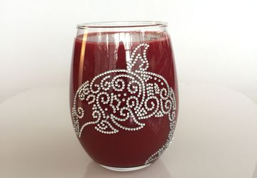 Handmade decorative stemless wine glass