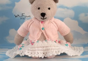 Hand knitted , one of a kind Christmas teddy bear - Bryony