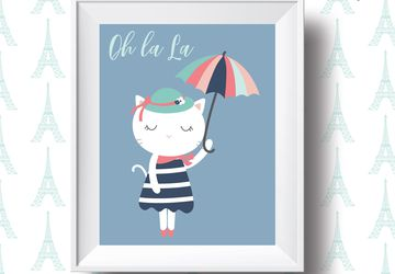 h La La, french cat, children wall art